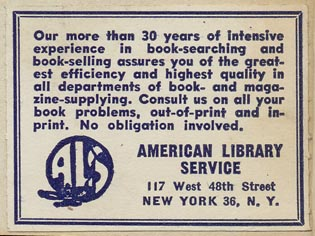 American Library Service, New York, NY (50mm x 38mm).