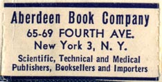Aberdeen Book Company, New York, NY (38mm x 19mm, ca.1951). Courtesy of Robert Behra.