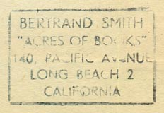 Bertand Smith's Acres of Books, Long Beach, California (inkstamp, 35mm x 23mm, ca.1950s).