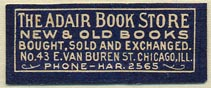 The Adair Book Store, Chicago, Illinois (34mm x 13mm). Courtesy of Donald Francis.