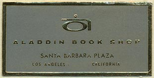 Aladdin Book Shop, Santa Barbara, California (51mm x 26mm). Courtesy of Donald Francis.