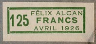 Librairie F�lix Alcan, Paris, France (31mm x 13mm, ca.1926).
