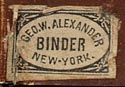 George W. Alexander, Binder, New York, NY (14mm x 10mm, ca.1859).