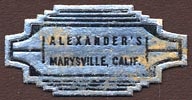 Alexander's, Marysville, California (30mm x 15mm). Courtesy of Donald Francis.