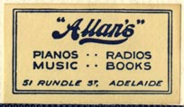 Allan's, Adelaide, Australia (33mm x 19mm, after 1938). Courtesy of Robert Behra.
