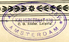 Alsbach & Doyer, Amsterdam, Netherlands (inkstamp, 45mm x 27mm). Courtesy of Robert Behra.