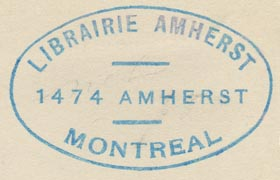 Librairie Amherst, Montreal, Canada (44mm x 28mm, ca.1925?).