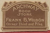 Archway Book Store, Frank B. Wilson, Seattle, Washington (26mm x 17mm, ca.1923?).