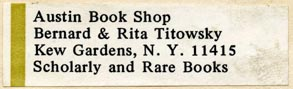 Austin Book Shop, Bernard & Rita Titowsky, New York, NY (49mm x 15mm). Courtesy of Robert Behra.