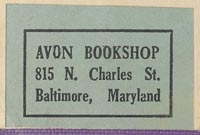 Avon Bookshop, Baltimore, Maryland (32mm x 21mm, ca.1933?).