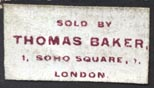 Thomas Baker, London (24mm x 13mm, ca.1861?)