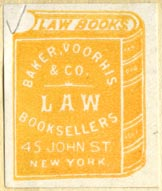 Baker, Voorhis & Co., Law Booksellers, New York (26mm x 31mm, ca.1925?)