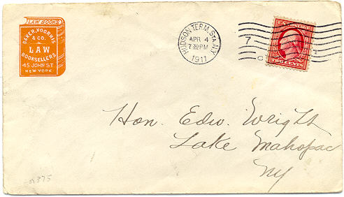 Baker, Voorhis & Co., Law Booksellers, New York (26mm x 31mm imprint on envelope, ca.1911)