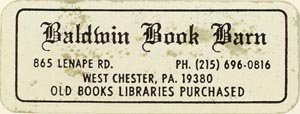 Baldwin Book Barn, West Chester, Pennsylvania (approx 50mm x 19mm)
