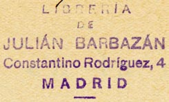 Libreria de Julián Barbazán, Madrid, Spain (40mm x 24mm, ca.1935). Courtesy of R. Behra.