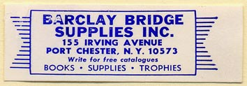 Barclay Bridge Supplies, Port Chester, NY (57mm x 19mm)