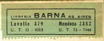 Libreria Barna, Buenos Aires, Argentina (57mm x 20mm, ca.1920s or 30s). Courtesy of R. Behra.
