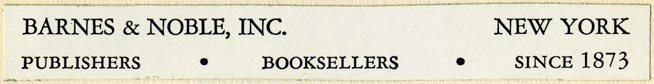 Barnes & Noble, Publishers and Booksellers, New York (108mm x 13mm, ca.1961)