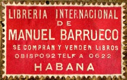 Libreria Internacional de Manuel Barrueco, Havana, Cuba (41mm x 26mm, early 20th c.?). Courtesy of R. Behra.