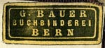 G. Bauer, Buchbinderei, Bern, Switzerland (24mm x 11mm, ca.1904). Courtesy of R. Behra.