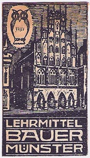 Lehrmittel Bauer [educational publisher], M�nster, Germany (54mm x 30mm, ca.1920)