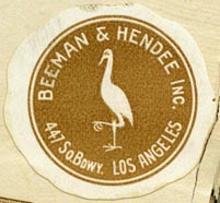 Beeman & Hendee, Los Angeles, California (approx 33mm dia., early 20th c?)