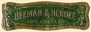Beeman & Hendee, Los Angeles, California (49mm x 16mm). Courtesy of S. Loreck.