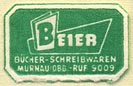 Beier, Bücher -- Schreibwaren, Murnau, Germany (21mm x 13mm). Courtesy of Donald Francis.