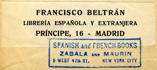 Francisco Beltran, Libreria Espanola y Extranjera, Madrid (84mm x 25mm, before 1923)