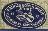 P. Benson Book & Music Store, So.Minneapolis, Minnesota (26mm x 16mm)