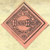 Benziger Bros., New York, Cincinnati & St Louis (27mm x 27mm, ca.1885)