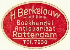H. Berkelouw, Boekhandel - Antiquariaat, Rotterdam, Netherlands (37mm x 26mm, pre-1939). Courtesy of S. Loreck.