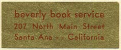 Beverly Book Service, Santa Ana, California (39mm x 16mm)