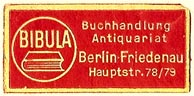 Bibula, Buchhandlung & Antiquariat, Berlin, Germany (31mm x 15mm). Courtesy of S. Loreck.