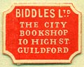 Biddles, Ltd., The City Bookshop, Guildford, England (15mm x 19mm)