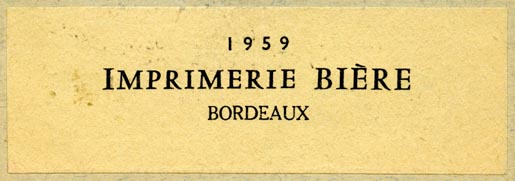 Imprimerie Bière, Bordeaux, France (85mm x 28mm, ca.1959). Courtesy of R. Behra.