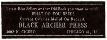 Black Archer Press, William Targ, Chicago, Illinois (56mm x 20mm, ca.1930-1942). Courtesy of S. Loreck.