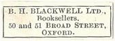B.H. Blackwell, Booksellers, Oxford, England (27mm x 9mm). Courtesy of S. Loreck.