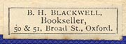 B.H. Blackwell, Bookseller, Oxford [England] (23mm x 9mm, ca.1930s)