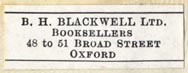 B.H. Blackwell, Oxford [England] (30mm x 11mm)