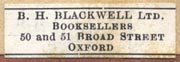 B.H. Blackwell, Oxford [England] (29mm x 9mm)