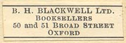 B.H. Blackwell, Oxford, England (29mm x 9mm)