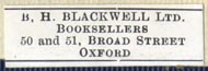 B.H. Blackwell, Oxford [England] (30mm x 9mm)