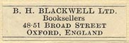 B.H. Blackwell, Booksellers, Oxford, England (29mm x 9mm, ca.1947)