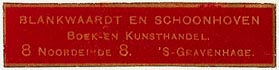 Blankwaardt en Schoonhoven, Boek- en Kunsthandel, The Hague, Netherlands (46mm x 10mm). Courtesy of S. Loreck.