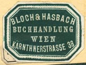 Bloch & Hasbach, Buchhandlung, Vienna, Austria (28mm x 21mm). Courtesy of R. Behra.