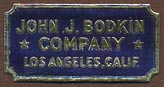 John J. Bodkin Company, Los Angeles, California (26mm x 13mm). Courtesy of Donald Francis.