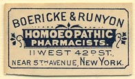 Boericke & Runyon, Homoeopathic Pharmacists, New York (31mm x 18mm)