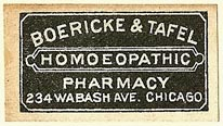 Boericke & Tafel, Homoeopathic Pharmacy, Chicago, Illinois (33mm x 18mm). Courtesy of S. Loreck.