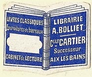 Librairie A. Bolliet, Aix-les-Bains, France (32mm x 25mm). Courtesy of S. Loreck.